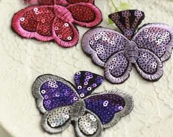 15pcs 7.5x6.5cm wide purple/wine red butterfiles sequins dancing dress appliques patches fasa7 free ship