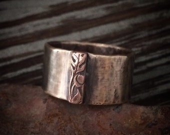 Celtic Bronze Men's Wedding Band - Wide Rustic Ring w/ Copper Acorn & Oak Mixed Metals Alternative 19th Anniversary Jewelry Gift for Him