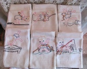 6 Embroidered Dish Towels or Burp Towels New Old Stock