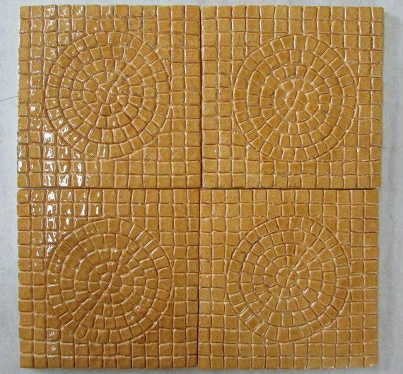 6x6 PsuedoMosaic Sun Ceramic Tile Set of 4 in Amber glaze