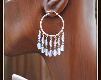 Opalite Chandeliers, Opalite Hoop Earrings, Sea Opal Chandeliers, Opalite Chandelier Earrings, Glowing Opalite Earrings, Milky Bead Earrings