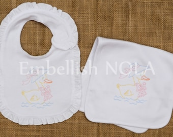 Vintage Mother Goose Embroidered Baby Girl Bodysuit, Gown, Bib, or Burp Cloth