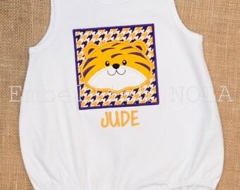 Tiger Boy Applique Bubble LSU Inspired