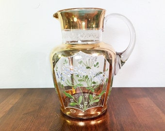 Victorian Hand Painted Pitcher Queen Anne's Lace