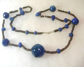 Vintage Hand Crafted Ceramic Bead Necklace 36 Inches Long - No. 1639