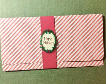 Christmas Money/Gift Card/Check Holder, Handmade, Red, White, Striped, Happy Holidays, Words Inside