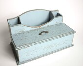Rustic Wood Desk Organizer in Robins Egg Blue - Desk Accessories - Stationery Holder / Make-up Organizer