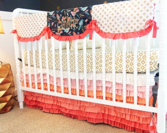 Custom Crib Bedding in Gray, Coral, Gold, and Aqua with Cross Print and Tiered Skirt