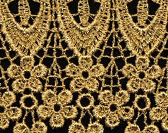 Gold Metallic Venise Lace, 3+1/2 inch wide selling by the yard