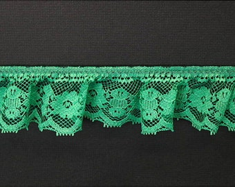 2 inch Single-Gathered Lace, kelly green price for 1 yard