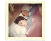 Hair Net - Vintage Color Snapshot - Man and Woman Sleeping - Pink & Blue Blankets - Vintage Photo - Snoring - Found Vernacular Photo