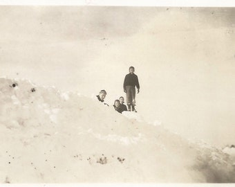 """Vintage Snapshot """"King Of The Hill"""" Mountains of Snow - Black and White Found Vernacular Photo"""
