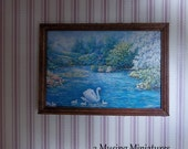 NEW Swan Fine Art Print in 1:12 Scale for Dollhouse Miniature Conservatory or Gallery