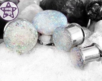 "Ice Planet of Hoth Glitter Plug / Gauge Iridescent White Wedding Prom 4g, 2g, 0g, 00g, 7/16"" / 5mm, 6mm, 8mm, 10mm, 11mm"