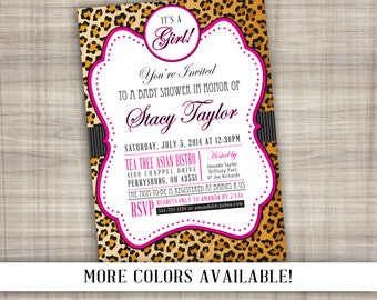 Leopard Baby Shower Invitation - Printable Digital File with Color Options