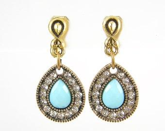 Turquoise Gold Clip Earrings - Aqua Bead Teardrop Dangle Clip on Earrings |AB4-3