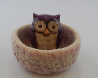 felted wool bowl ring dish eco friendly gift pink cream lavender mix