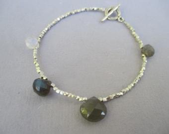 Tiny silver bead bracelet with fine Thai silver beads moonstone labradorite OOAK