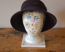 Vintage Folk Art Mannequin Head Vintage Hat Display Vintage Styrofoam Mannequin Vintage Hat Stand Photo Prop from The Eclectic Iinterior