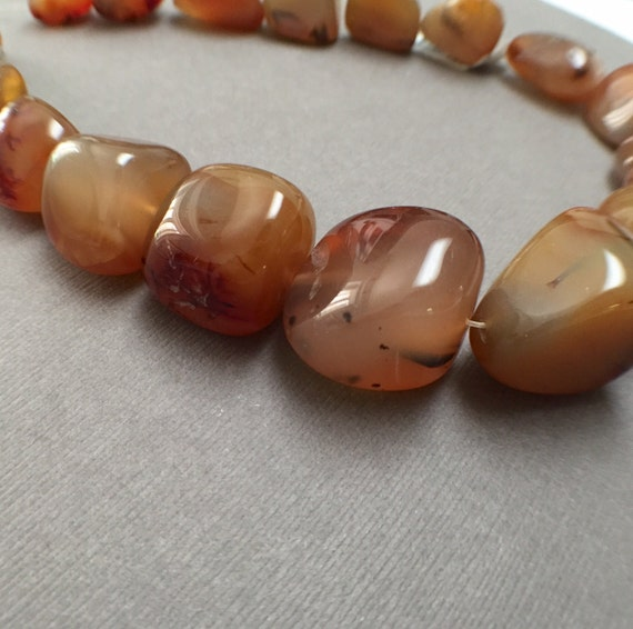 Large Red Line Agate Nugget Beads. Golden Brown. Gemstone