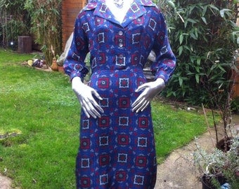 1950s Silky Shirt Front Day Dress
