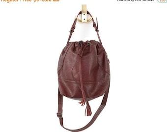 SALE *** 180 USD only instead 355 USD, Genuine Leather, Oxblood Dark Brown Casual Bag, Chic, Over the Shoulder Sack Bag