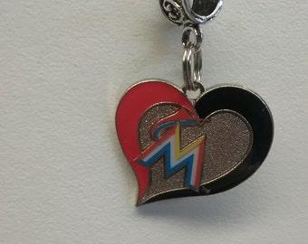 Miami Marlins swirl heart charm