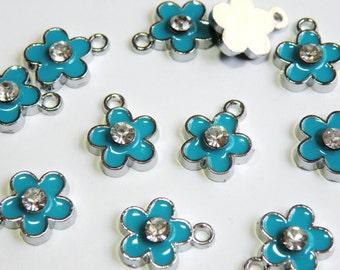 10 Cute blue enamel flower charm with rhinestone center silver finish 16x12mm ENAM-3