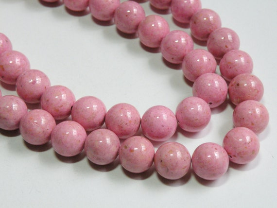 Riverstone beads in Pink round gemstone 12mm full strand 9459GS