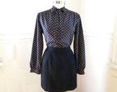 Gone Dotty Secretary Blouse / Polka Dots Black Colorful / 1970s 1980s Clothing / Bow Blouse / Womens Shirts / Career Work / Medium Large