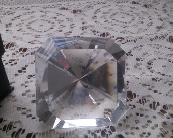 Faceted Crystal Paperweight by Oleg CassinI