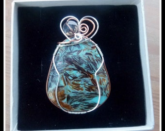 Turquoise Copper Pendant, wire wrapped in Sterling Silver and Copper, with chain