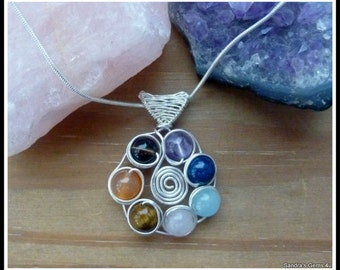 Chakra Wheel Pendant in Sterling Silver, with woven bail, chain included