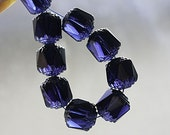 Dark Ink Blue cathedral beads, czech glass, silver ends, round, fire polished - 8mm - 15Pc - 2991