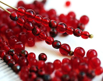 Red beads mix, czech glass small spacers, Picasso beads, round, druk, 3mm, 4mm - 7gramm - 2320