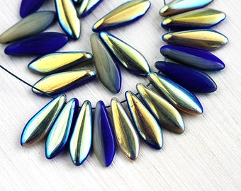 25pc Dagger beads, Dark Blue Grey AB finish, czech glass pressed beads, tongue, long beads - 5x16mm - 0797