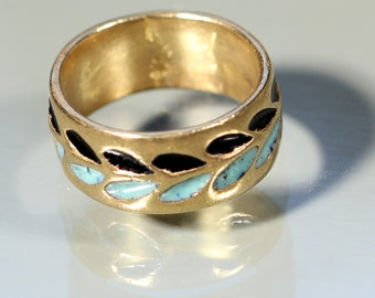 French 70s Band Ring Enamel Ring Brass Ring French Jewelry Ring Size Approx 5.60US