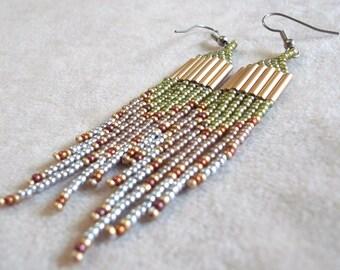 Long seed bead earrings in green, silver, cocoa metallic earrings bold earrings colorful earrings boho earrings statement earrings dramatic