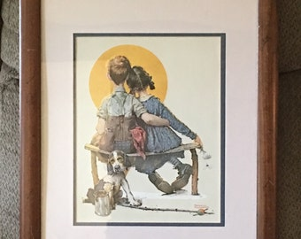 "Vintage Norman Rockwell Large Framed Print ""Boy and Girl Gazing at the Moon"" from his 1926 Artwork"