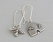 Honey Bee and Hive Earrings .. silver earrings, mismatched earrings, bee earrings, minimal jewellery