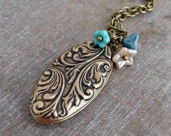 Floral Oval Locket  .. long locket, flower locket, art nouveau locket, nature inspired locket, oval locket