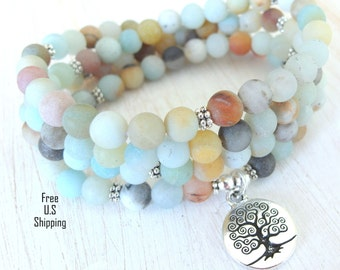 Amazonite Mala, 108 beads, Tree of life, Mala Bracelet or Necklace, Reiki, Buddhist Rosary,Prayer beads, Gemstone, wrist mala, tree bracelet