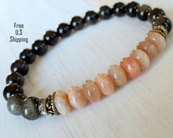 Sheen Obsidian, Moonstone, Yoga Mala, Moonstone Bracelet, yoga bracelet, energy mala, Meditation bracelet, Reiki bracelet, Mala, Obsidian