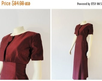 SALE Vintage Dress 60s 70s Mad Men Formal Burgundy Maxi Dress and Bolero Jacket Sweetheart Size Small