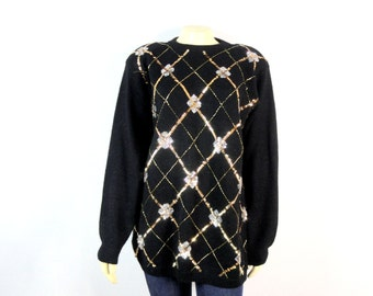 Vintage Sweater | Alfred Dunner Sweater| 80s Sweater| Black Gold Silver Sequin Sweater| Vintage Jumper| 80s Jumper| Black & Gold Sweater