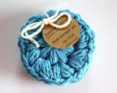 SHOP CLOSING SALE Round Face Scrubby Set . Set of 3 . Crochet . 100 Percent Cotton . Blue