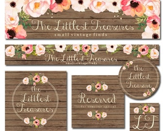 Premade Etsy Banner and Avatar + Sticker Set for Small Crafty Boutiques Vintage Wood with Hand Painted Watercolor Flowers Shabby Chic