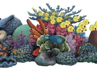 Coral Reef Wall Decal, Deep Sea Decal, Vinyl Wall Decal, Ocean Theme Decal, Ocean Mural, Infinite Graphics, Vinyl Wall Graphics, Ocean Decal