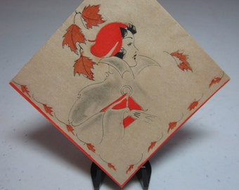 1920's-30's unused hand colored art deco buzza bridge tally deco lady in fashionable clothes, hat purse framed in fall leaves fall colors