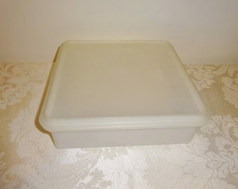 Vintage Tupperware Square Container White Large Keeper Storage